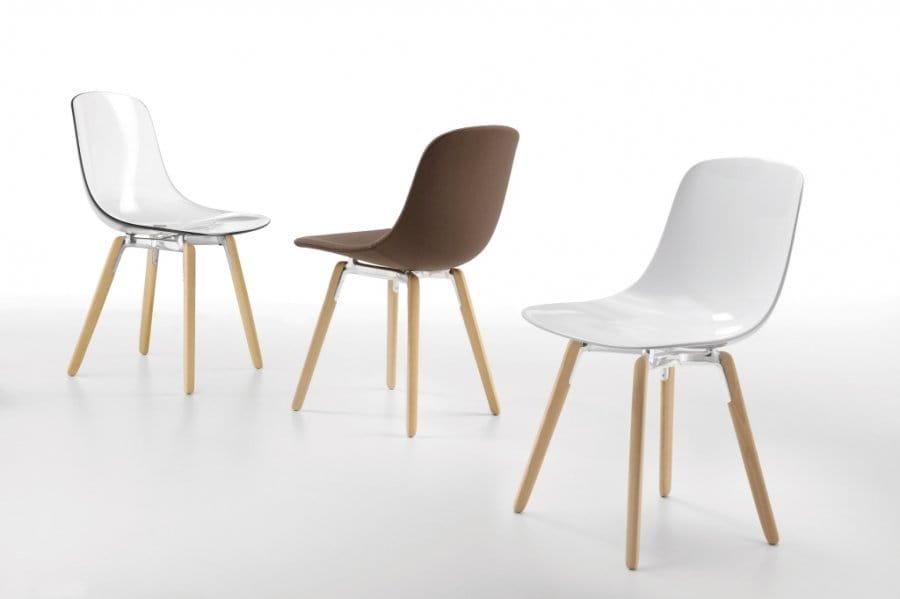 Wspaniały INFINITI krzesło tapicerowane PURE LOOP na drewnianych nogach SC71
