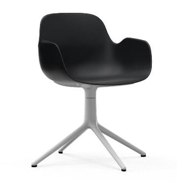 NORMANN COPENHAGEN krzesło obrotowe z podłokietnikami FORM SWIVEL 4L białeczarne