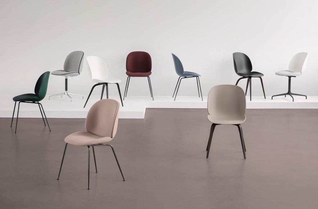 GUBI krzesło obrotowe BEETLE krzyżowa podstawa tapicerowane siedzisko