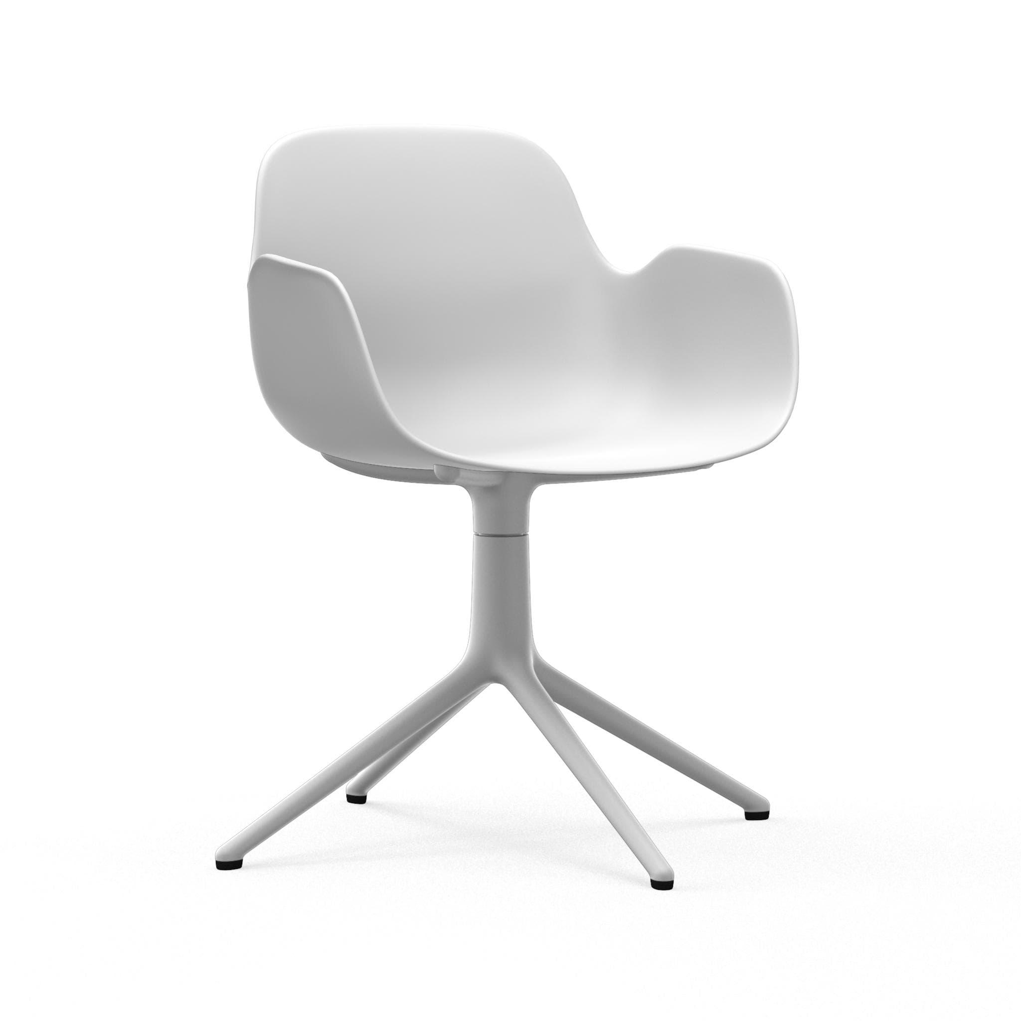 NORMANN COPENHAGEN krzesło obrotowe z podłokietnikami FORM SWIVEL 4L białe
